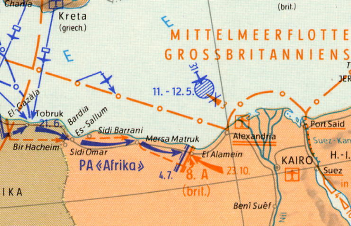 German military map shows battle lines at Mersah Matruh, 1942