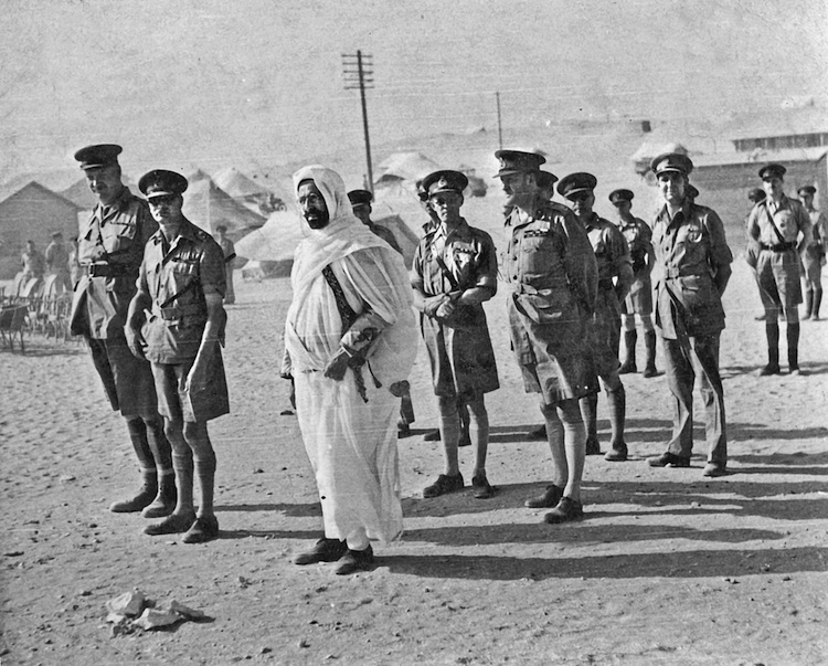 King Idris of Libya with British officers WW2