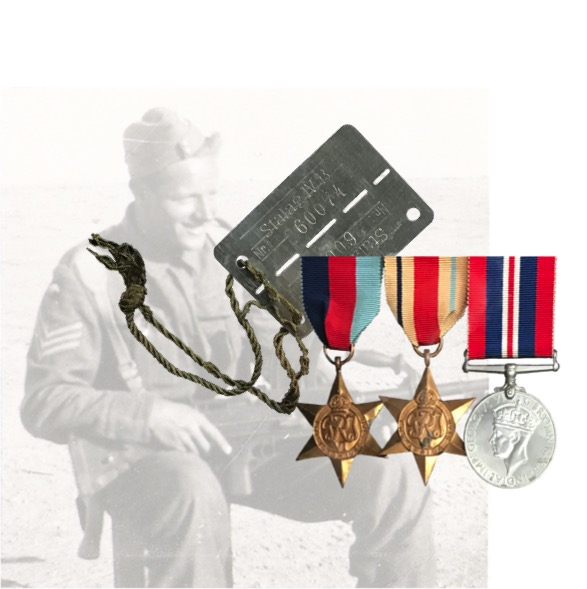 Soldier with Bren gun, with dog tag and medals superimposed