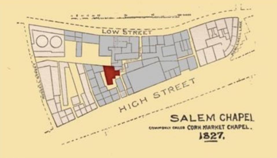 Location of Old Corn Market chapel, Sunderland.