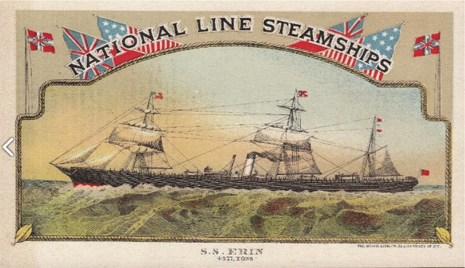 National Line Steamships trading card. Believed to be in public domain.
