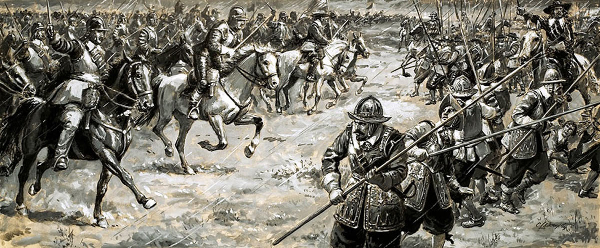 Cromwell cavalry charge against Royalist foot, Naseby, 1645. Picture by Cecil Doughty.