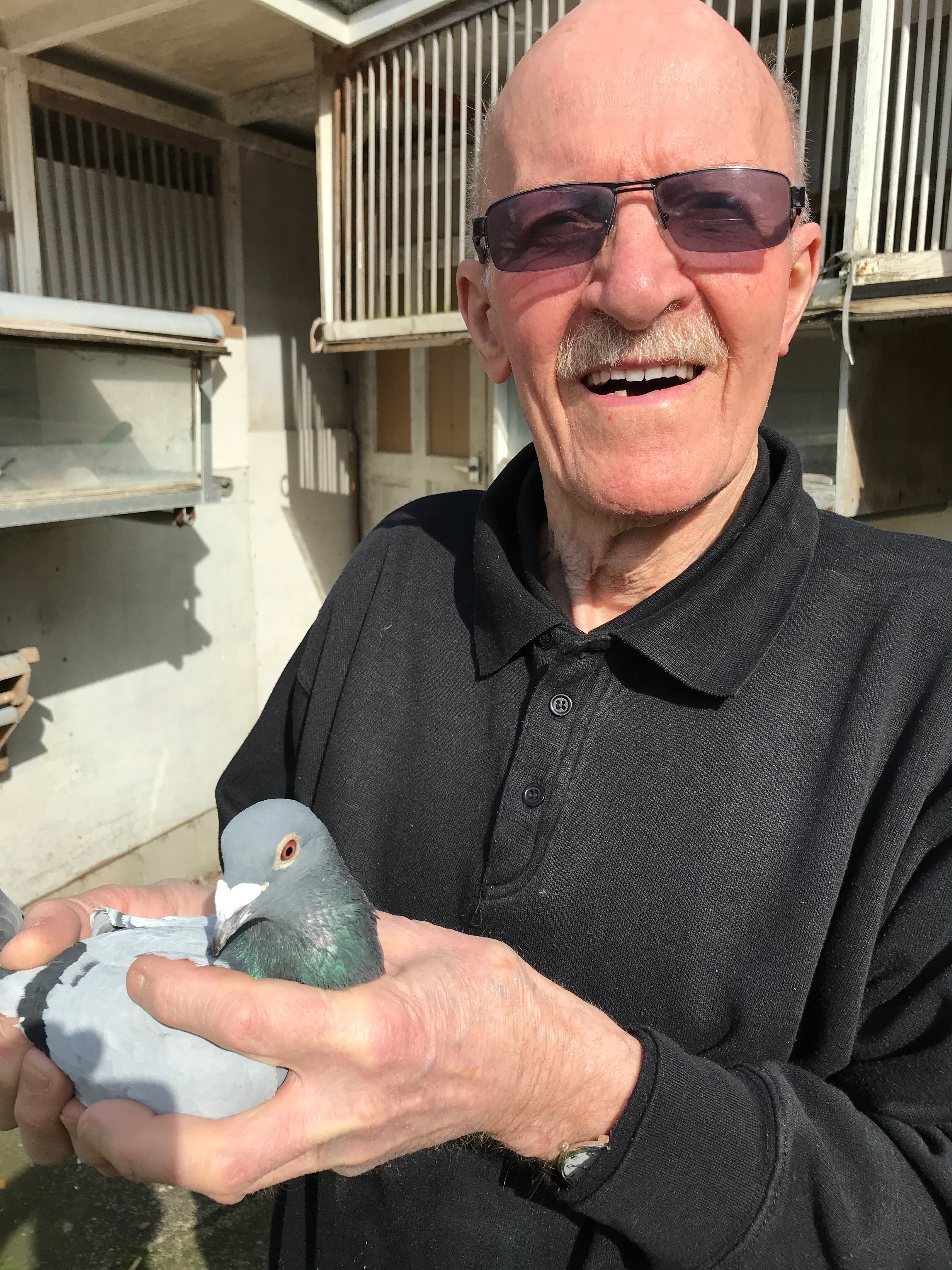Freddy Berry with pigeons
