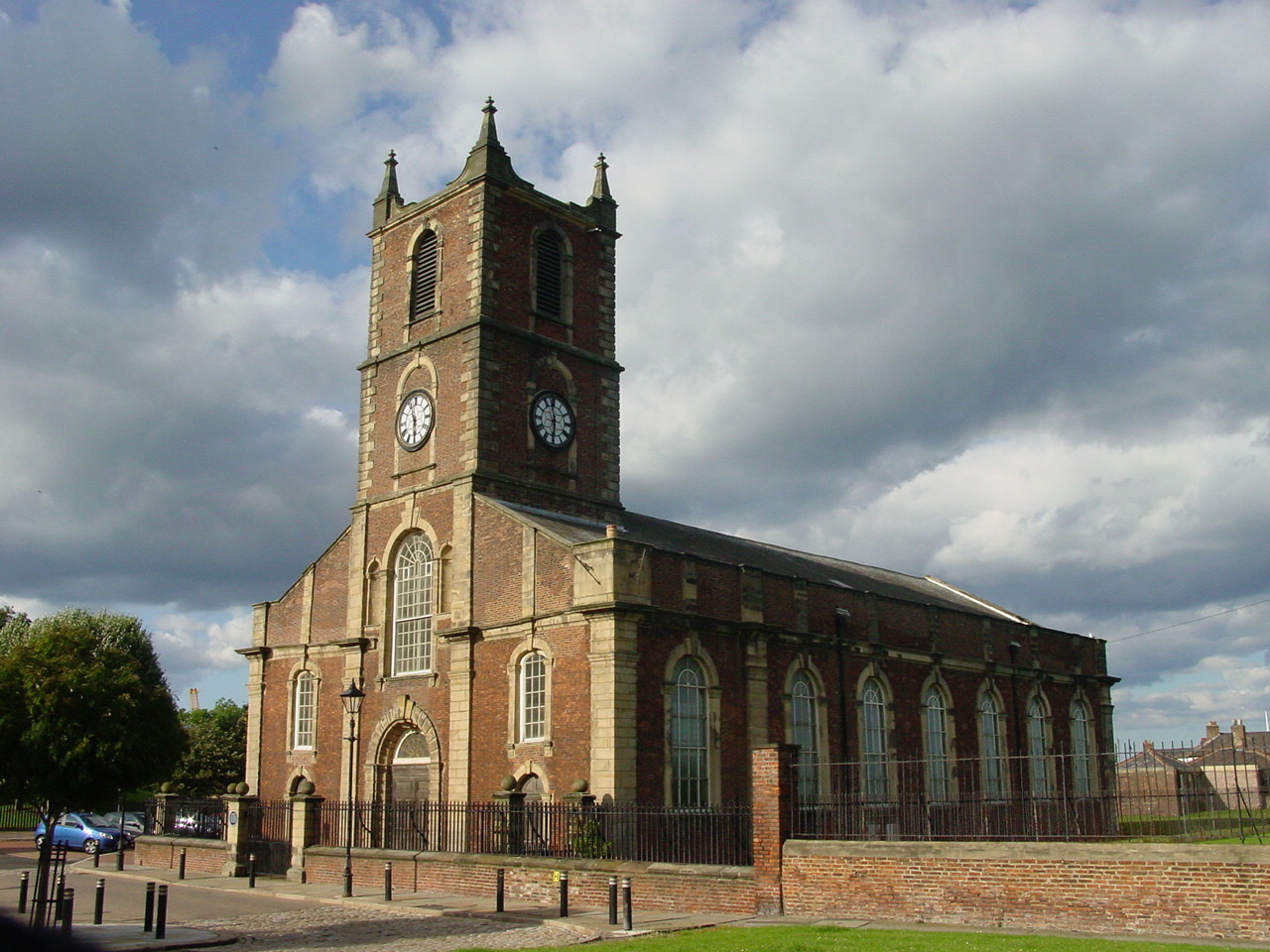 Picture shows modern view of stately Sunderland Parish Church, now in care of conservationists