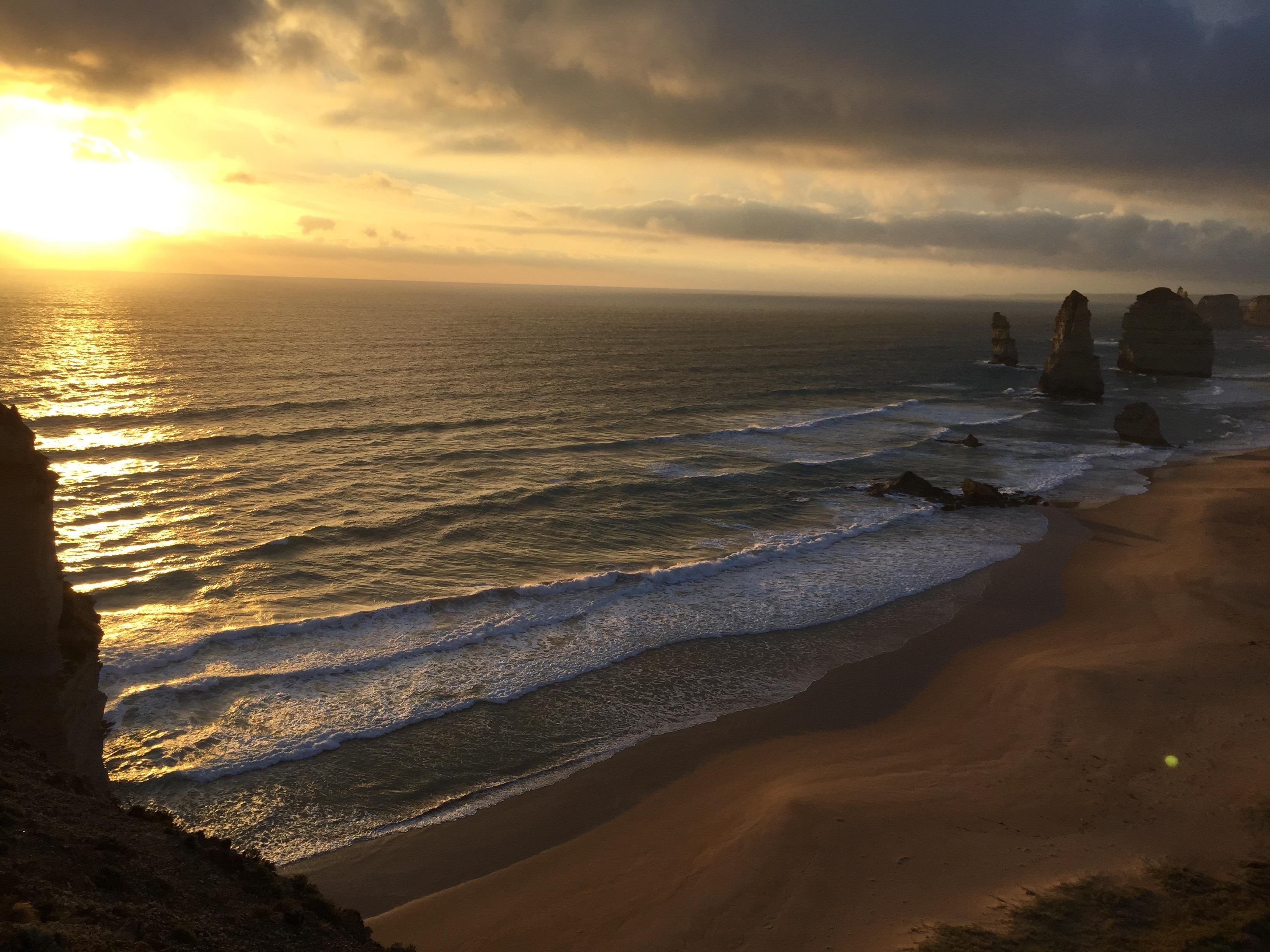 Sunset over the Twelve Apostles, south Coast of Victoria, Australia.